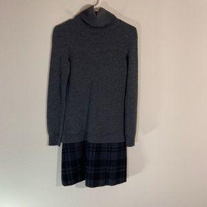 Theory Plaid Cashmere Sweater Dress Turtleneck S